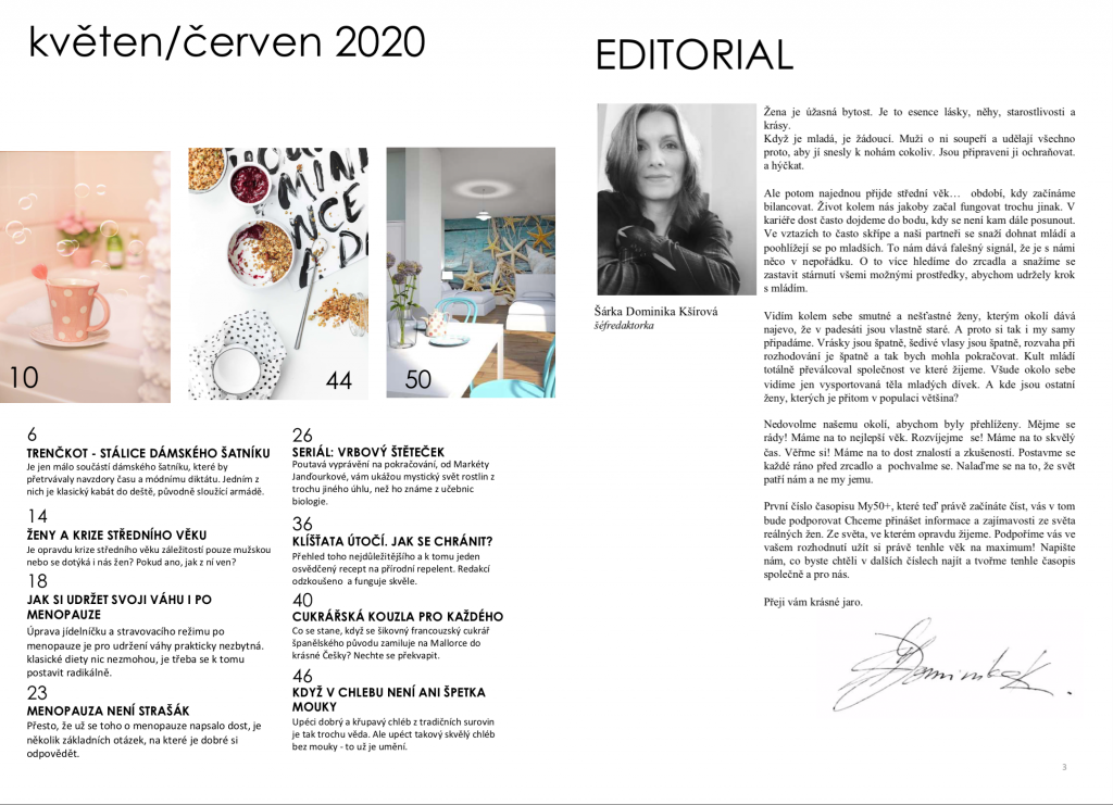 Obsah časopisu MY50 - časopis pro ženy v menopauze