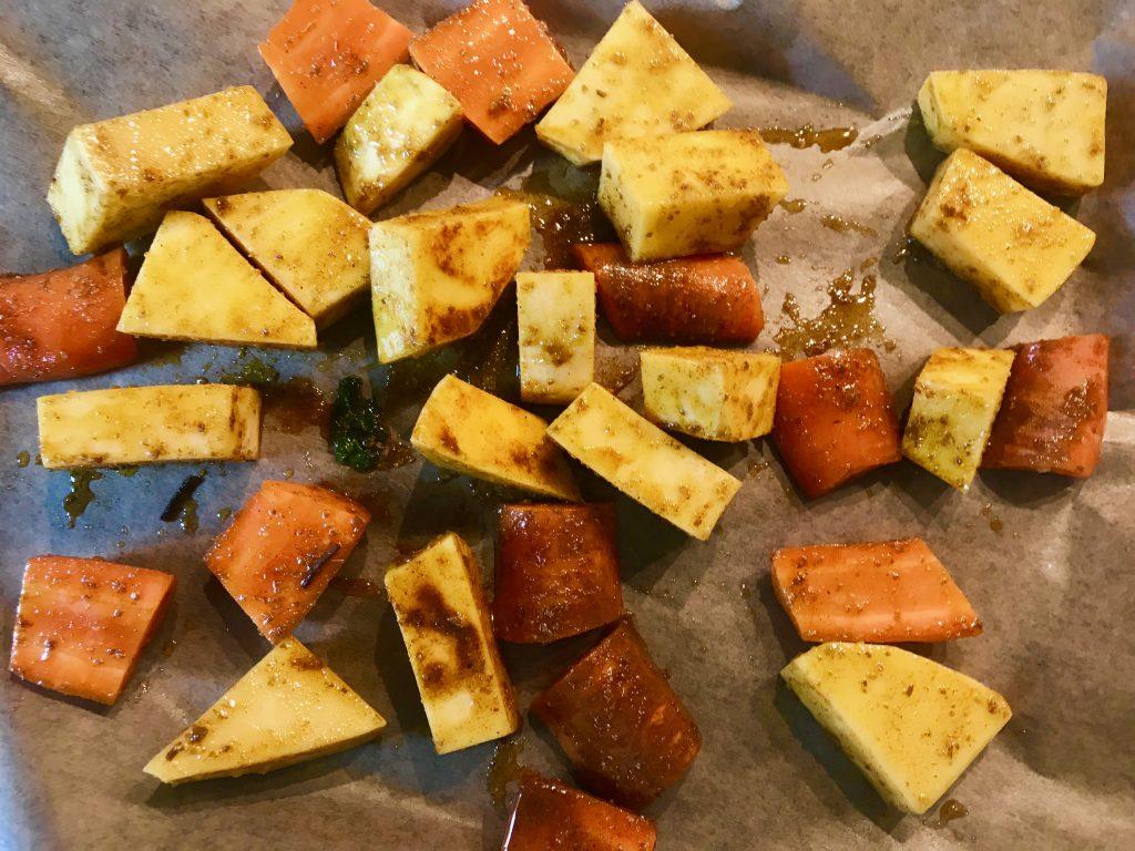 Podzimní hummus - cizrnová pomazánka s pečenou zeleninou podle Metabolic Balance