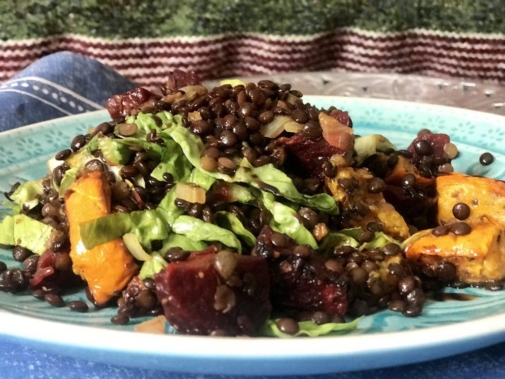 Teplý čočkový salát s pečenou zeleninou podle Metabolic balance